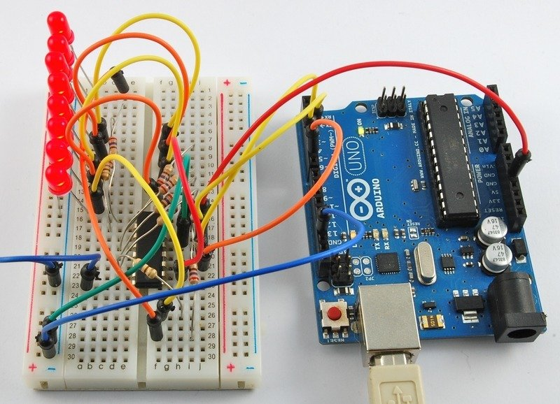 Overview arduino lesson eight leds and a shift