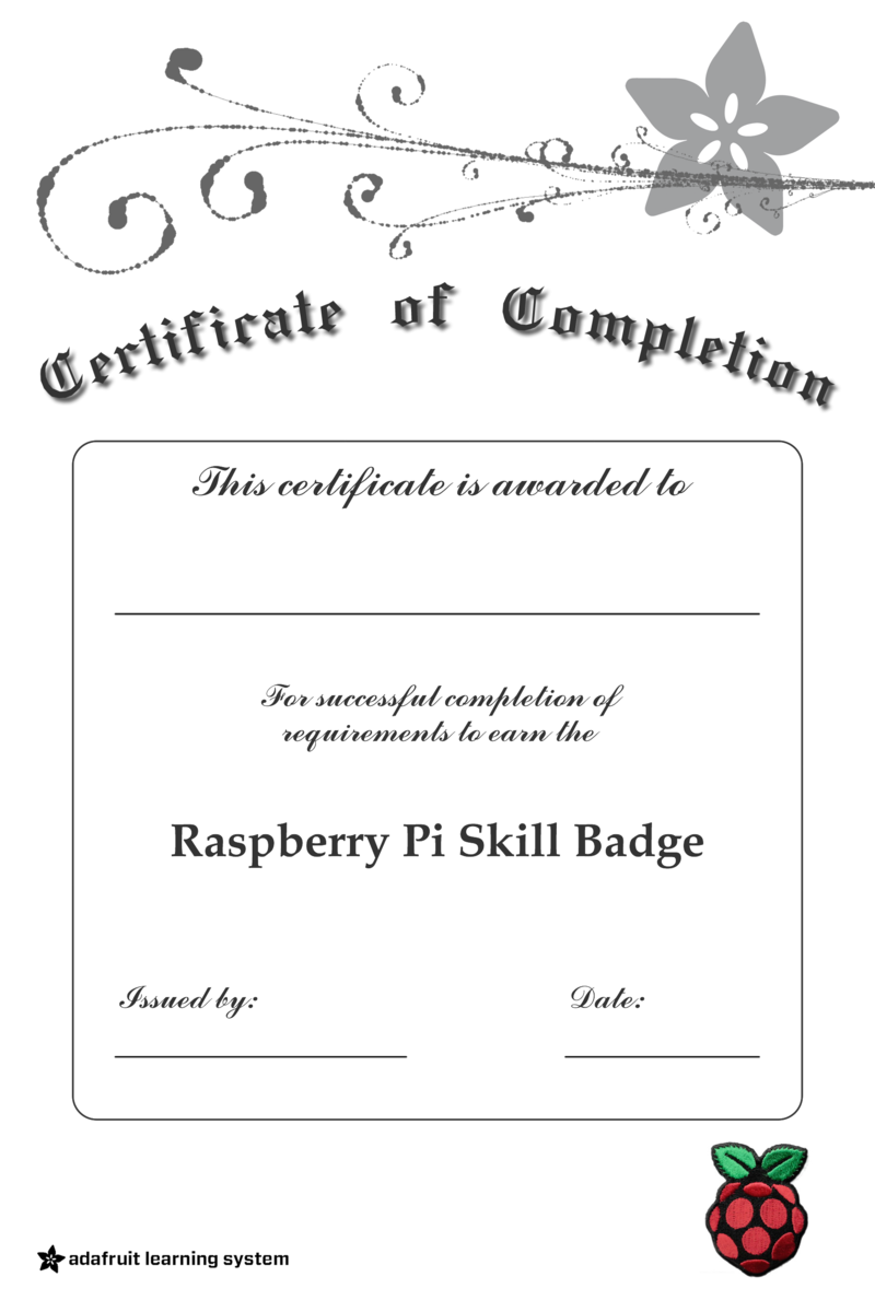 Certificate Of Completion Skill Badge Requirements Raspberry Pi