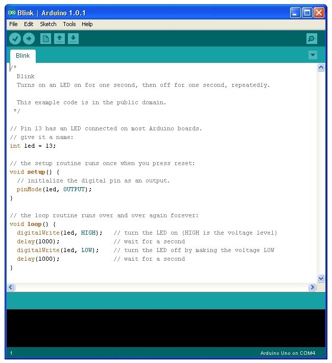 Loading the blink example arduino lesson