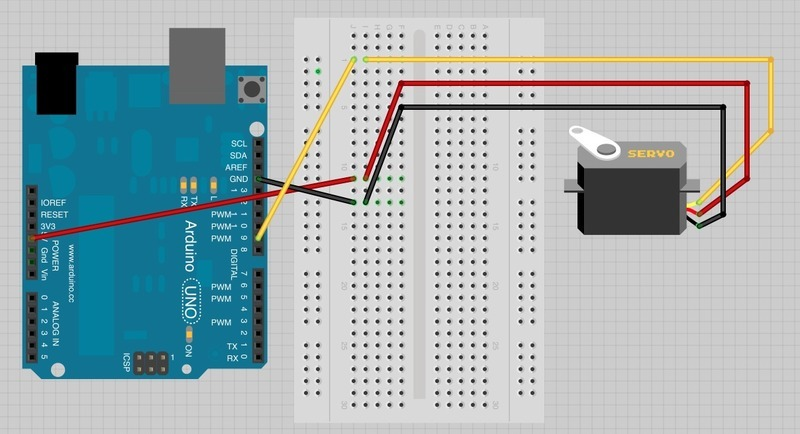 The Breadboard Layout For Sweep Arduino Lesson 14
