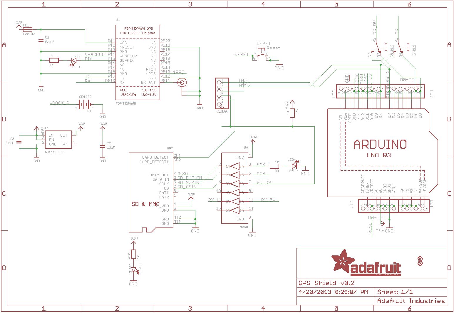 tutorial dom board adafruit ultimate gps data logger see board schematics here
