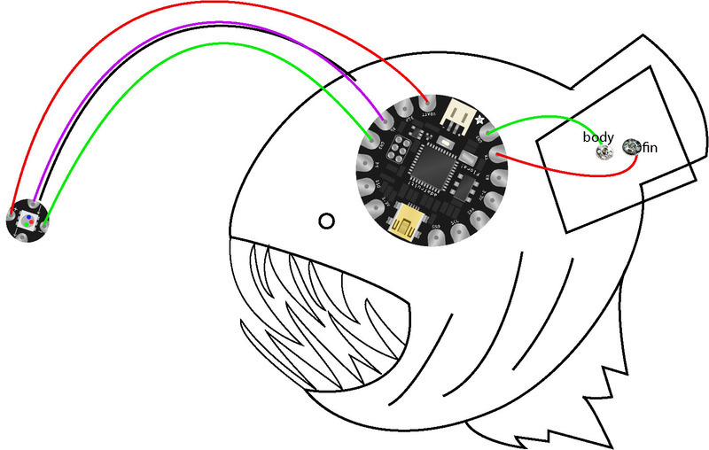 Layout & Circuit Diagram | Light-Up Angler Fish Embroidery ...