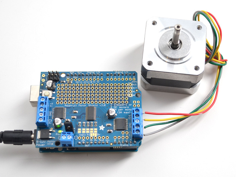 Using Stepper Motors Adafruit Motor Shield V2 For
