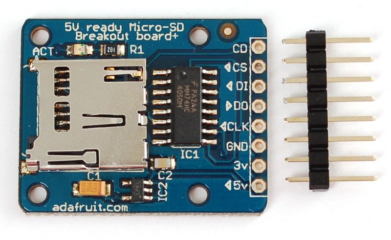 Arduino wiring micro sd card breakout board tutorial