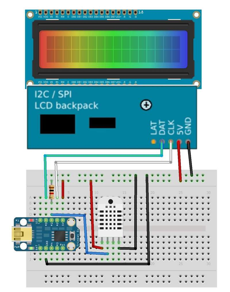 Overview trinket temperature humidity lcd display