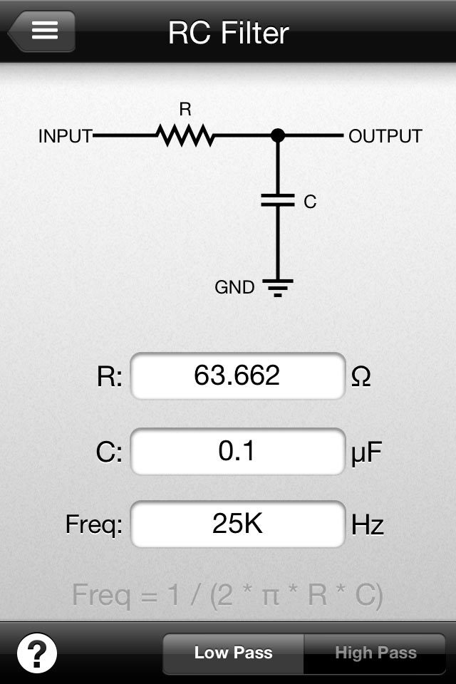 Rc ripple filter calculator.