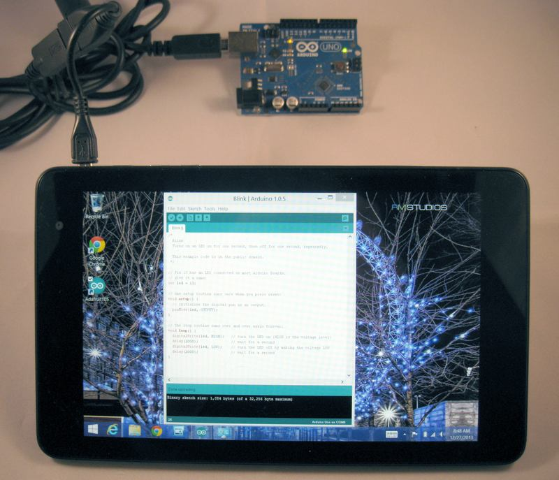 Windows tablets programming arduino with android and