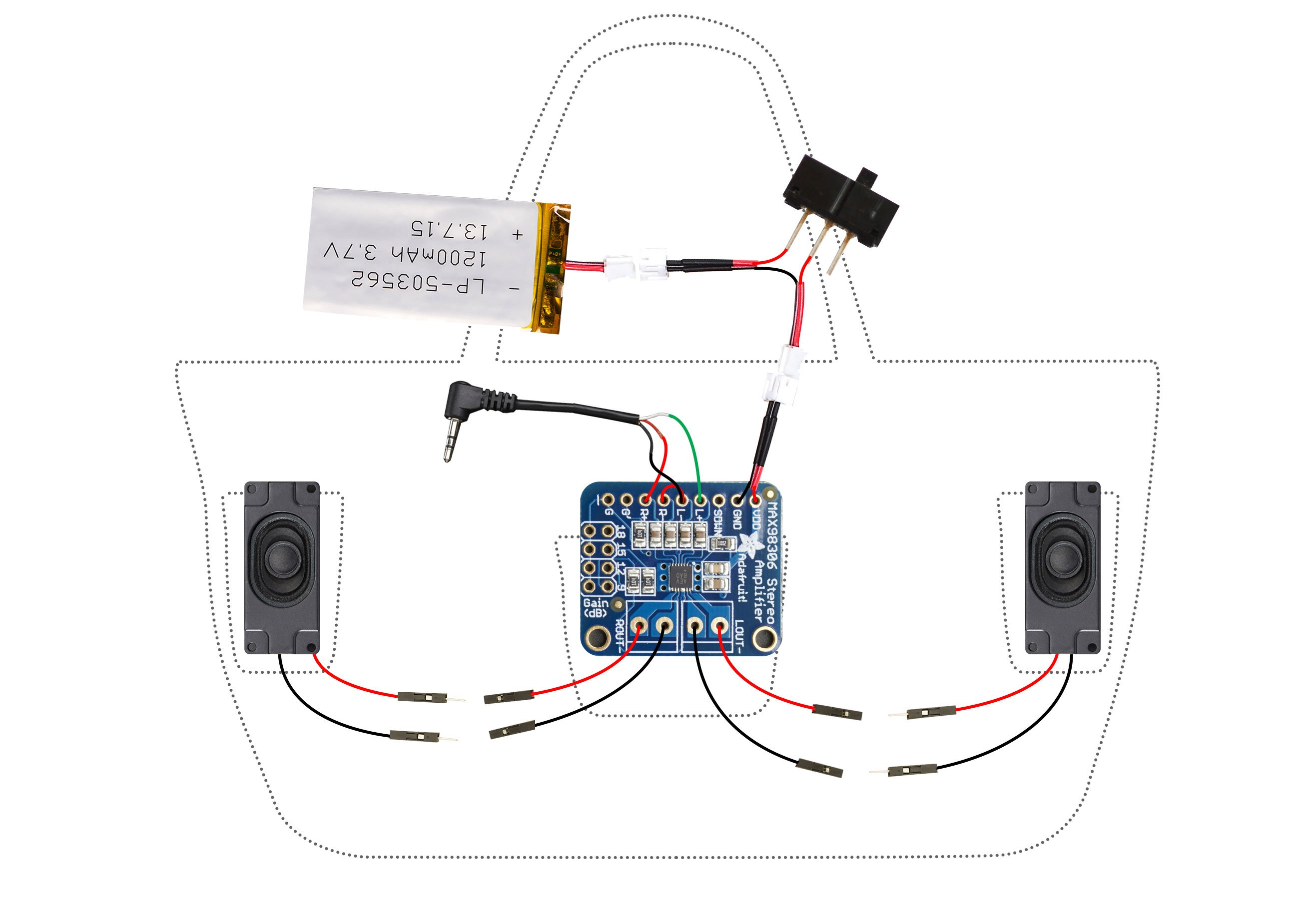 circuit diagram boombox beach bag with audio amp and speakers rh learn adafruit com bluetooth stereo wiring diagram diy bluetooth speaker wiring diagram