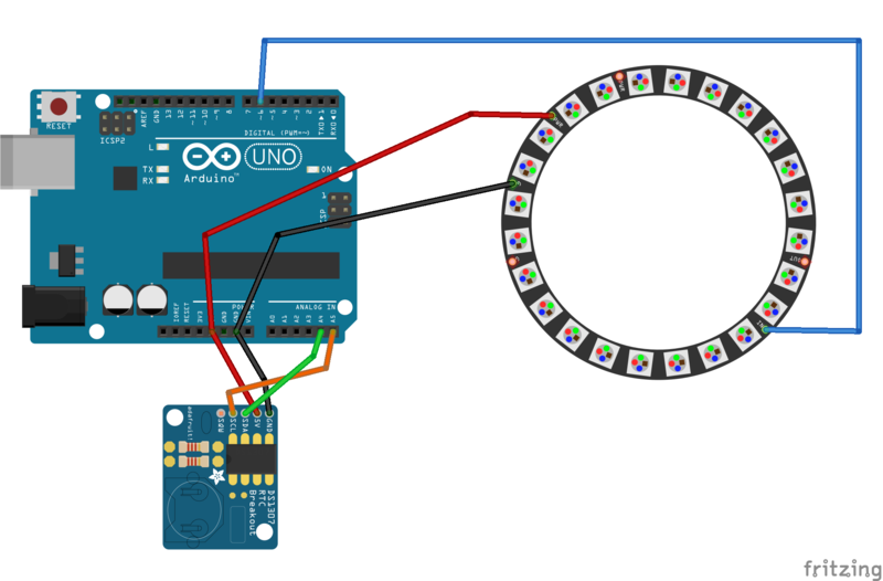 Building the circuit neopixel ring wall clock