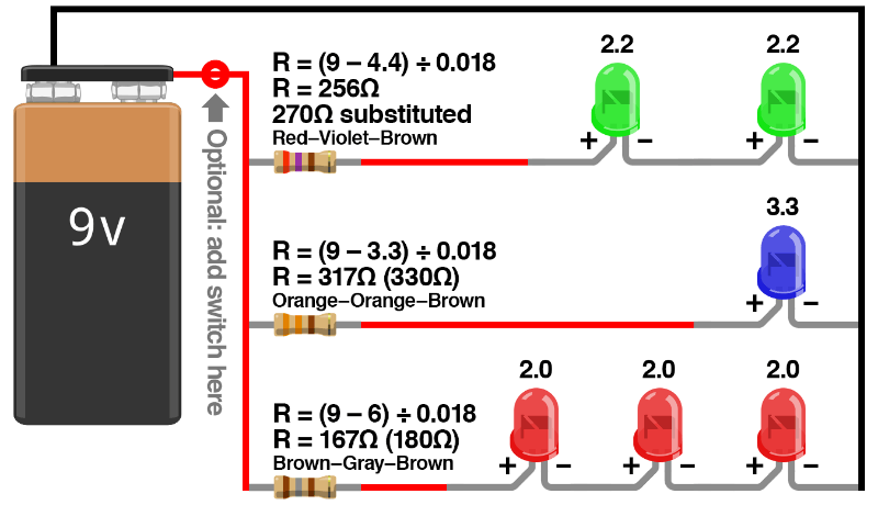 Each Led Is Connected To A 68 Resistor In Series All Leds