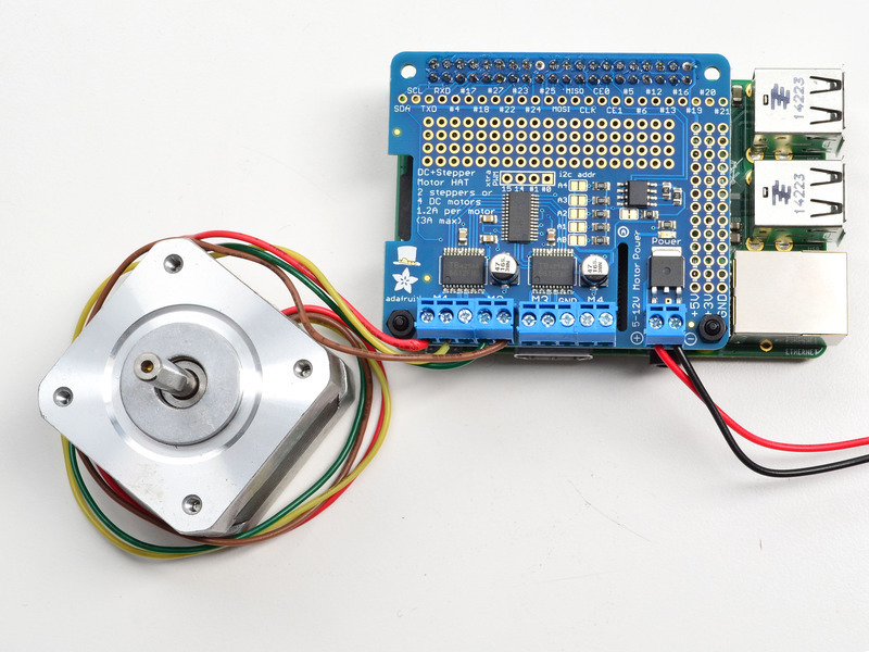 Using stepper motors adafruit dc and stepper motor hat for Raspberry pi stepper motor controller
