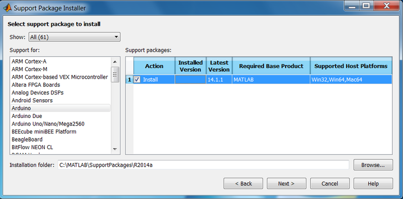 Set up matlab and simulink support package for arduino due