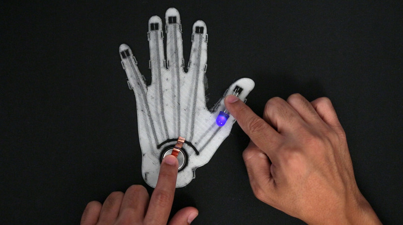 Assembly 3d Printed Flexible Led Glove With Conductive