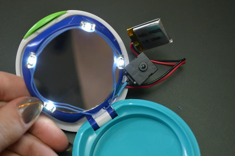 solder circuit diy rechargeable led makeup compact
