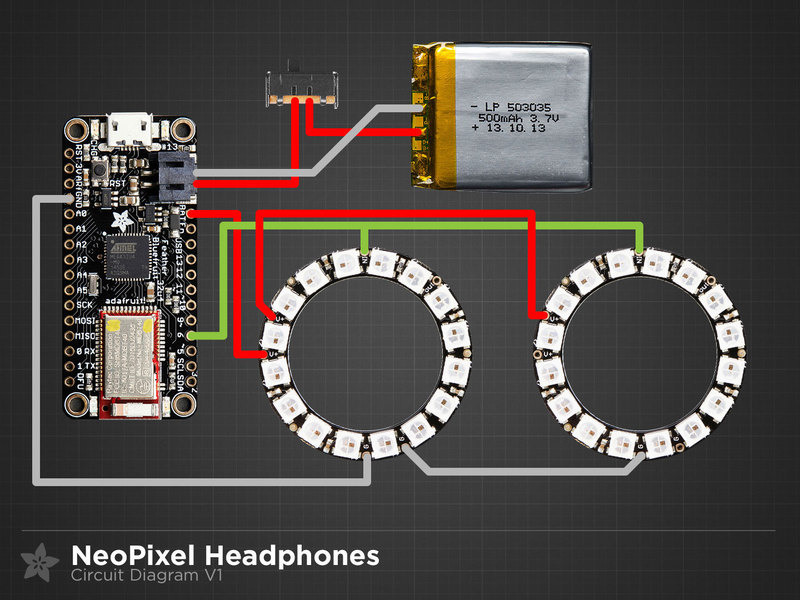Circuit Diagram | Bluetooth Controlled NeoPixel Headphones ...