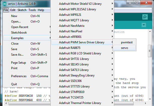 Using the Adafruit Library | Adafruit PCA9685 16-Channel