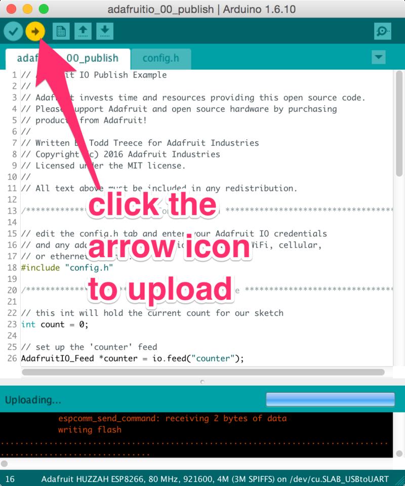 Example Sketches | Adafruit IO Basics: ESP8266 + Arduino