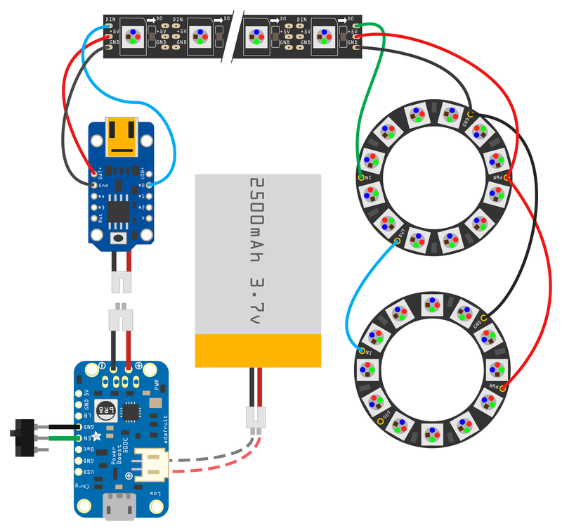 Circuit Diagram Trinket NeoPixel LED Longboard