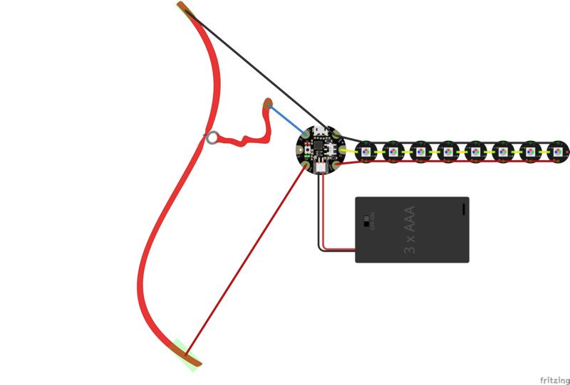 circuit diagram  textile potentiometer hoodie  adafruit