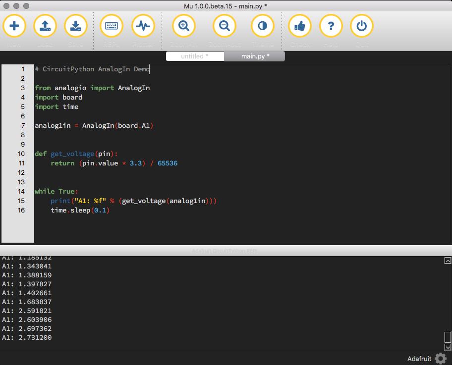 circuitpython_AnalogIn_SerialOutputMuEditor.png