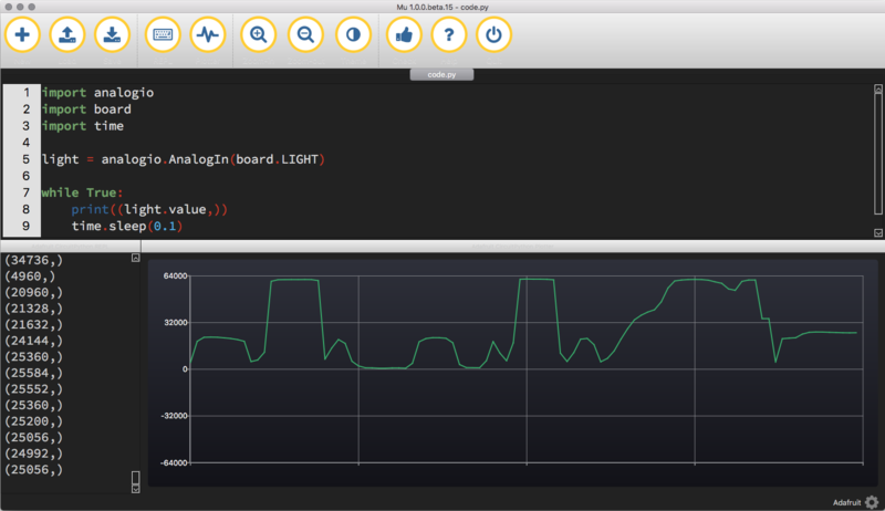 Light | Sensor Plotting with Mu and CircuitPython | Adafruit