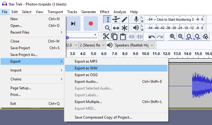 Convert Sound Files in Audacity | Microcontroller Compatible
