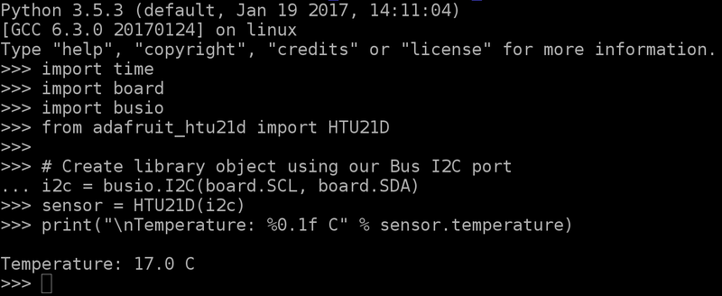 Python & CircuitPython | Adafruit HTU21D-F Temperature
