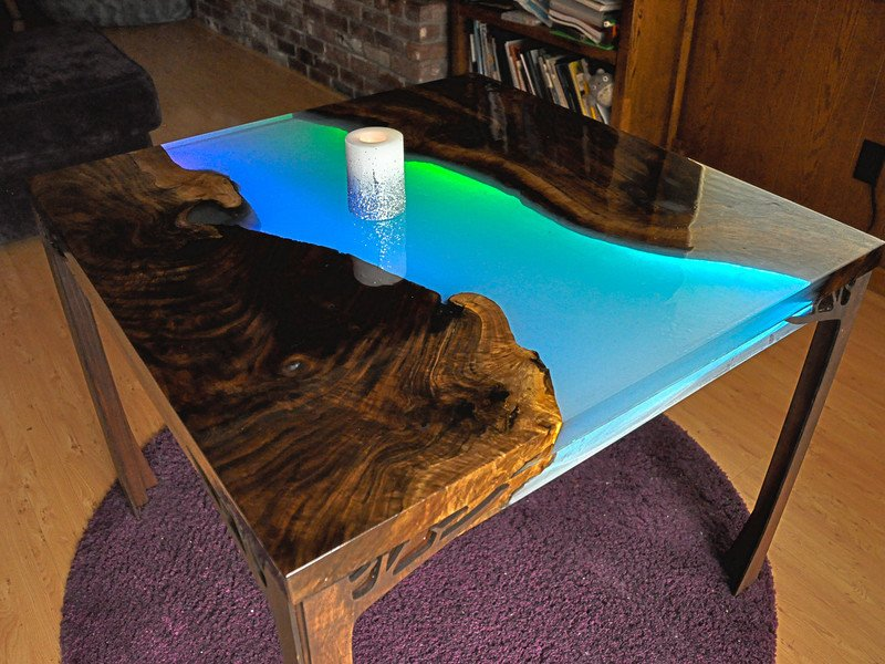 Table Assembly Glowing Neopixel Resin River Table