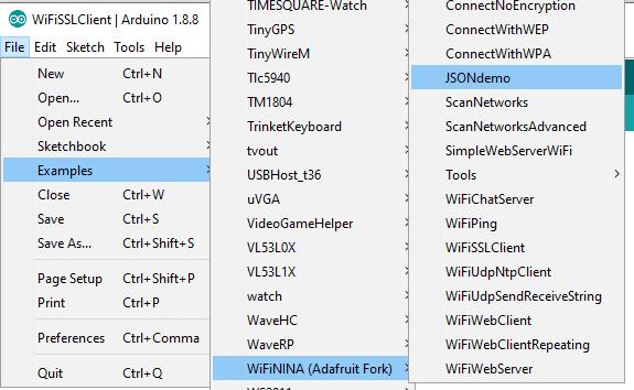 WiFi Test | Adafruit Metro M4 Express AirLift (WiFi