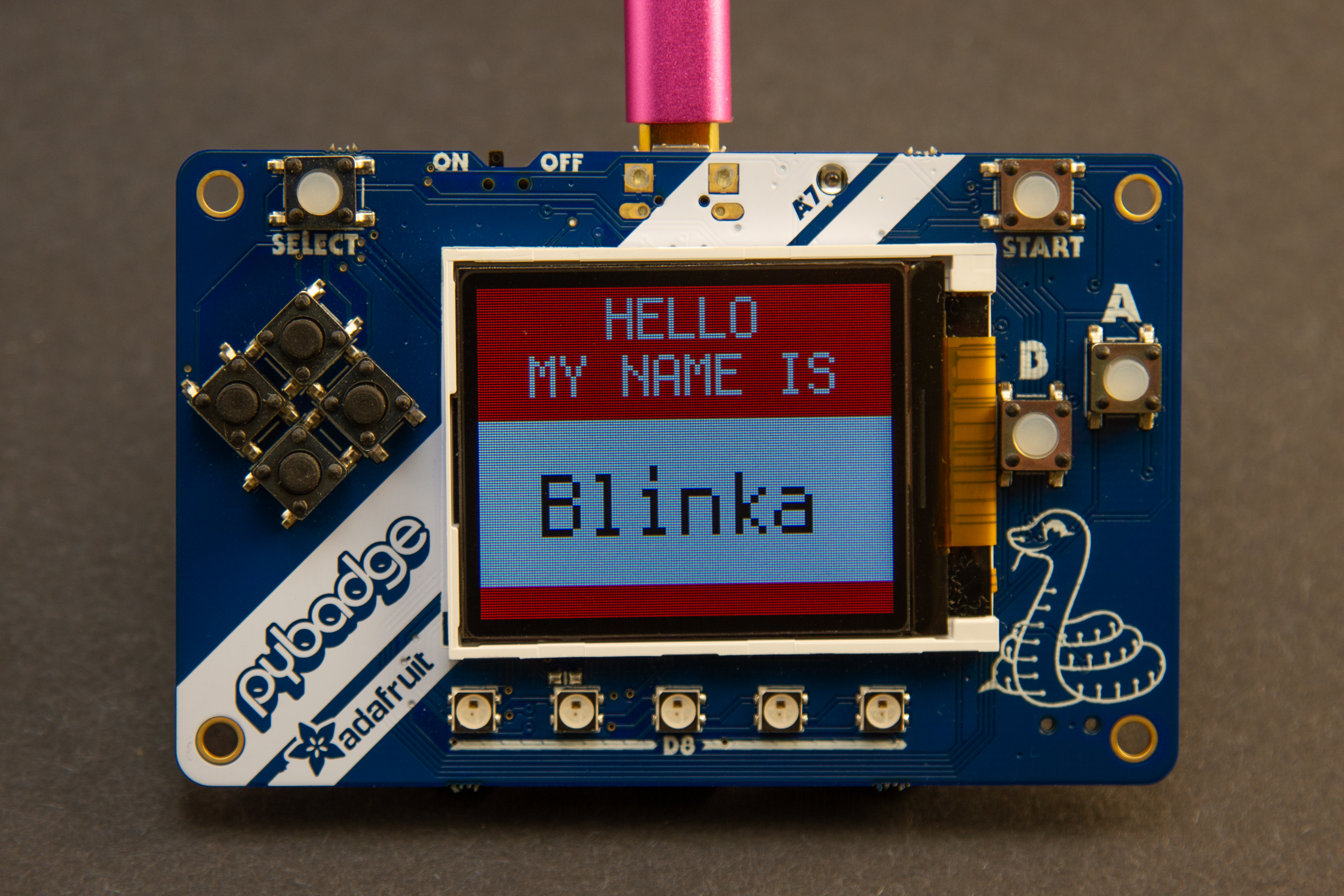 circuitpython_PyBadger_Dimmed_Screen.jpg