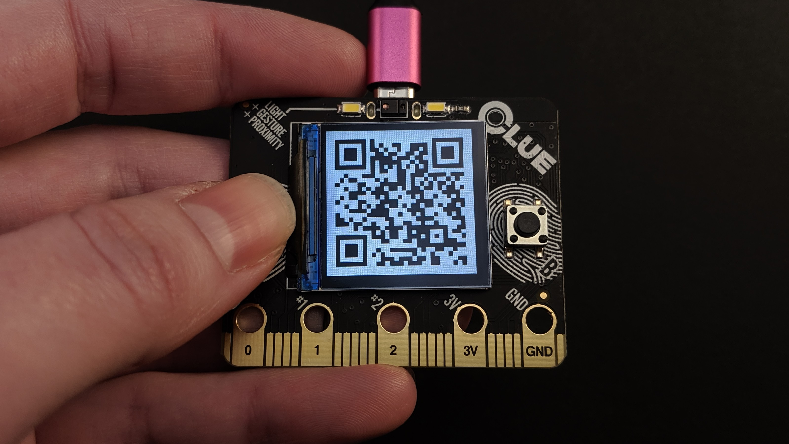 circuitpython_CLUE_PyBadger_custom_badge_qr_code.jpg