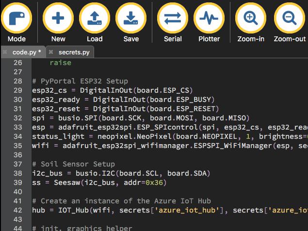 Mu editor showing circuit python code