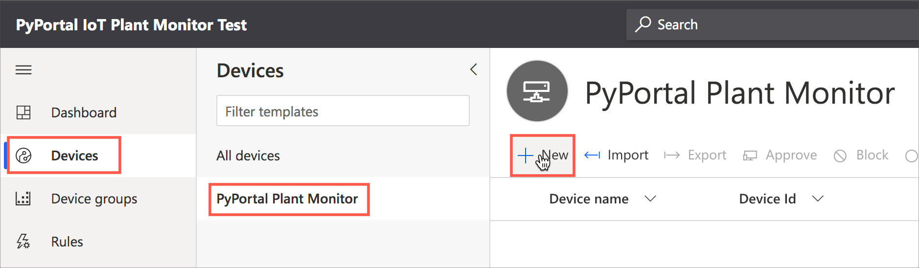 Selecting the devices tab, then the PyPortal Plant Monitor template, then the New button