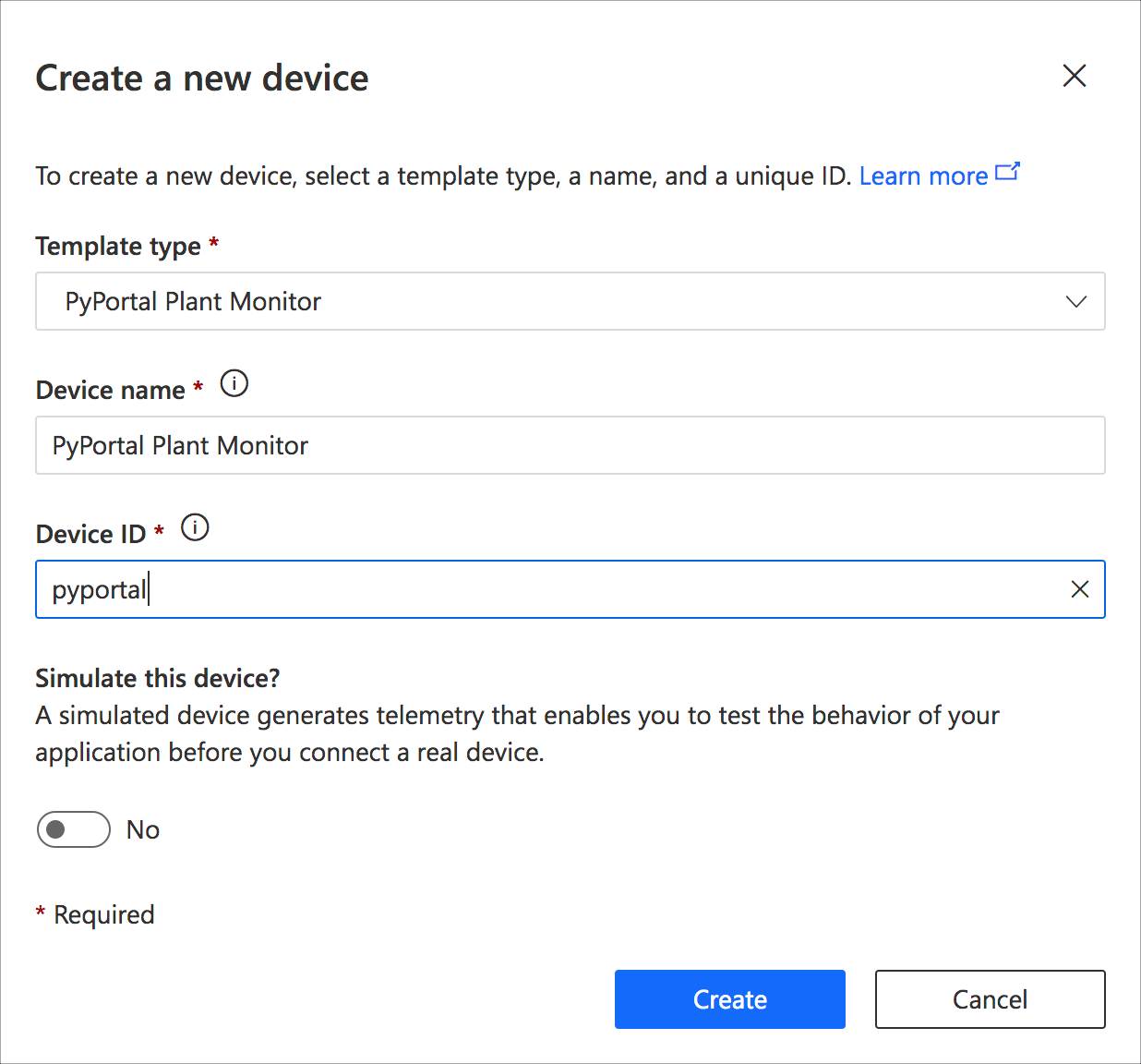 The create new device dialog where you can select the template type and give the device a name and id