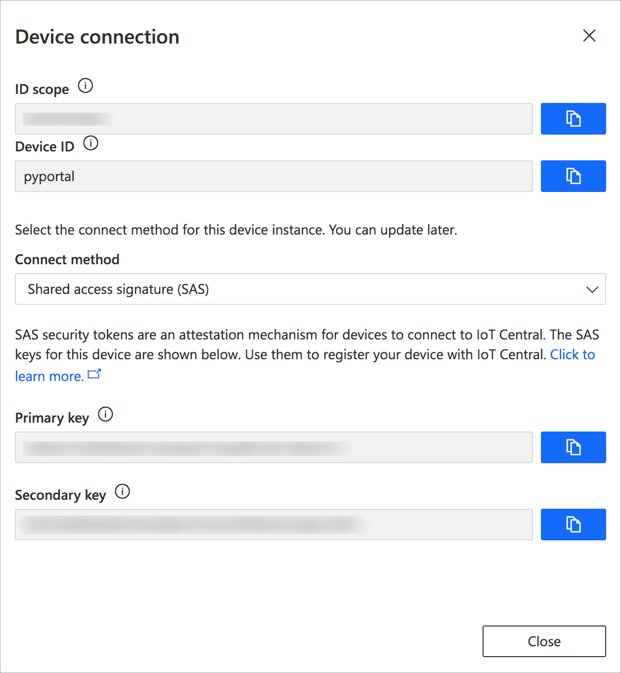 The connect dialog showing the ID scope, device id and keys