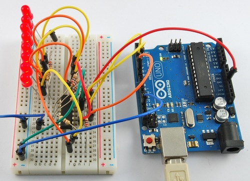 Arduino Lesson 4. Eight LEDs and a Shift Register
