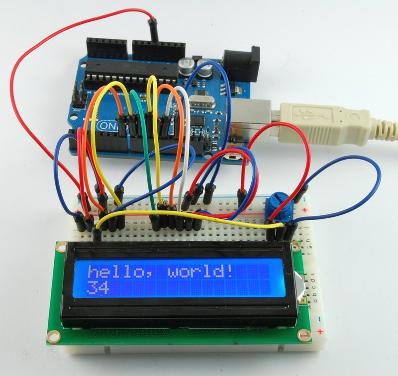 Breadboard layout arduino lesson lcd displays part
