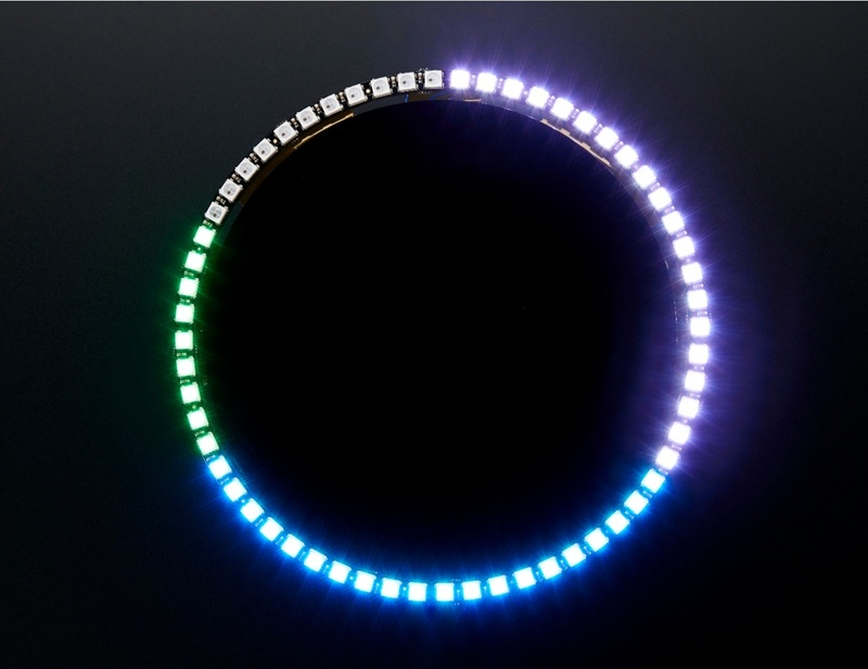 Building the Circuit  NeoPixel 60 Ring Wall Clock  -> Wandleuchte Led Ring