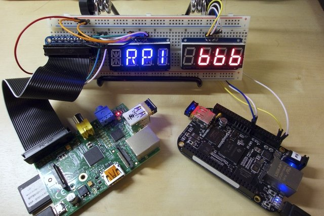 LED Backpack Displays on Raspberry Pi and BeagleBone Black