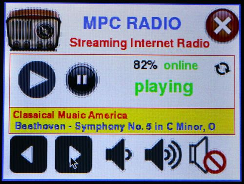 Raspberry Pi radio player with touchscreen