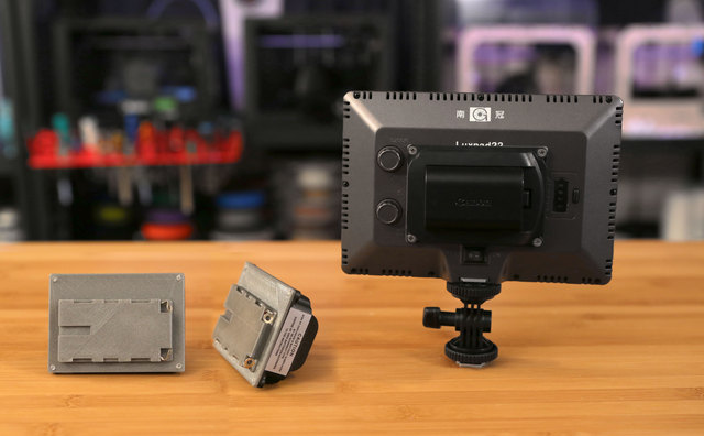 3D Printed Battery Adapter for Camera-Mount LED Panel