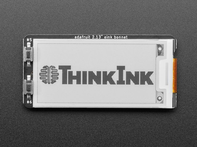 "Adafruit 2.13"" Monochrome E-Ink Bonnet for Raspberry Pi"
